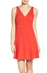 Ali And Jay Women's Ponte Fit Flare Dress Lipstick