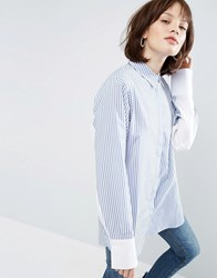 Asos Oversized Stripe Shirt With Contrast Batwing Sleeve Blue White Stripe Multi