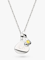 Kit Heath Personalised Sterling Silver Pebble And Tag Birthstone Pendant Necklace Citrine November