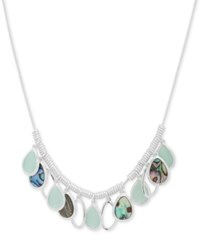Nine West Silver Tone Multi Stone Collar Necklace 16 2 Extender Aquamarine