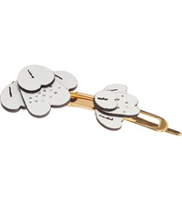 Marni Leather Floral Hair Clip Ice White