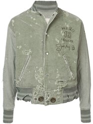 Greg Lauren Distressed Bomber Jacket Green