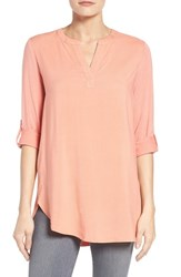 Pleione Women's Split Neck Roll Sleeve Tunic Coral Spice