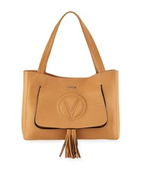 Valentino By Mario Valentino Ollie Dollaro Leather Tassel Tote Bag Beige