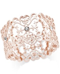 Inc International Concepts Crystal Filigree Stretch Bracelet Only At Macy's Rose Gold