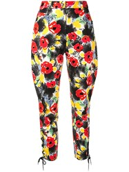 Chanel Vintage Camelia Print Cropped Trousers Multicolour