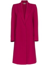 Alexander Mcqueen Single Breasted Cashmere Blend Coat Pink And Purple