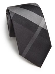 Burberry Manston Checked Silk Tie Beat Check Grey