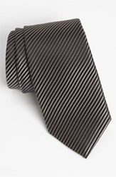 David Donahue Men's Woven Silk Tie Black Grey
