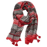 Betty Barclay Graphic Long Scarf Cream Red