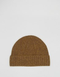 Asos Lambswool Stitch Fisherman Beanie In Mustard Mustard Yellow