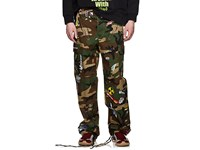 Vetements Camouflage And Sticker Print Cotton Cargo Pants Olive