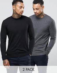 Asos Cotton Crew Neck Jumper 2 Pack Black Charcoal Multi
