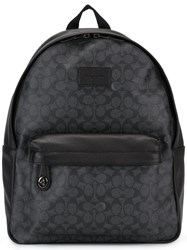 Coach Logo Print Backpack Black