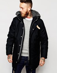 Lee Hooded Parka Coat Bedford Cord Borg Fully Lined Black