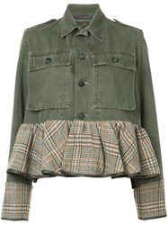 Harvey Faircloth Peplum Hem Denim Jacket Women Cotton Wool L Green