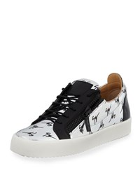Giuseppe Zanotti Men's Logo Patent Leather Low Top Sneaker Silver Black