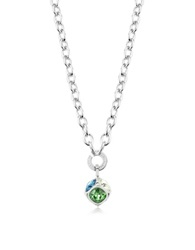 Rebecca Candy Rhodium Over Bronze Necklace W Cube Charm Silver
