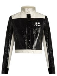 Courreges Contrast Panel Faux Patent Leather Jacket Black Cream