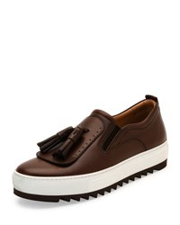 Salvatore Ferragamo Lucca Leather Sneaker With Oversized Tassels On Archival Sawtooth Sole Brown