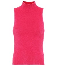 Versace Mohair Blend Sleeveless Top Pink