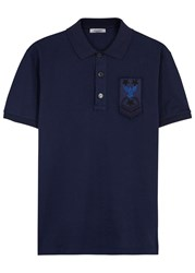 Valentino Bead Embellished Pique Cotton Polo Shirt