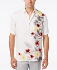 Tasso Elba Men's Floral Print Short Sleeve Shirt Classic Fit Only At Macy's White Combo