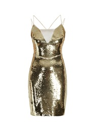 Morgan Dual Layer Sequin Dress Gold
