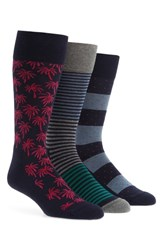 Nordstrom Shop 3 Pack Novelty Socks Box Set Palm Dot Stripe