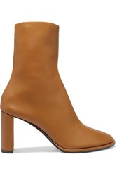 The Row Teatime Leather Ankle Boots Tan