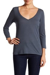 14Th And Union 3 4 Sleeve V Neck Tee Blue