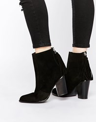 Mango Real Suede Tassle Ankle Boot Black