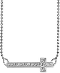 Alex Woo Diamond Accent Side Cross Pendant Necklace In 14K White Gold