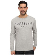 Timberland Kennebec Linear Logo T Shirt Medium Grey Heather Men's T Shirt Gray