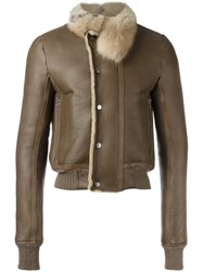 Rick Owens Hun Shearling Jacket Brown
