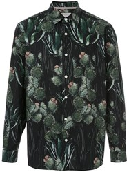 Gieves And Hawkes Cactus Print Shirt Black