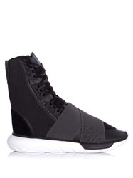 Y 3 Qasa Boot Neoprene And Canvas High Top Trainers Grey Multi