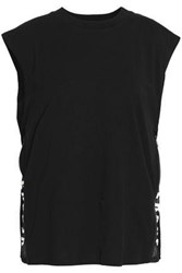 Versus By Versace Printed Mesh Trimmed Cotton Jersey Top Black