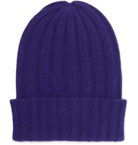 The Elder Statesman Short Bunny Echo Ribbed Cashmere Beanie Royal Blue
