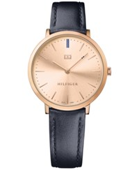 Tommy Hilfiger Women's Sophisticated Sport Blue Leather Strap Watch 35Mm 1781693 Rose Gold