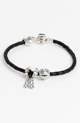 Pandora Design Women's Pandora Woven Leather Charm Bracelet