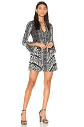 Free People Tegan Boarder Printed Mini Dress Black And White