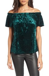 Socialite Women's Crushed Velvet Off The Shoulder Top Emerald