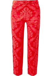 Simone Rocha Feather Trimmed Cotton Blend Brocade Straight Leg Pants Red