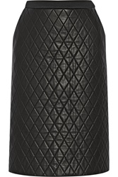 Neil Barrett Quilted Leather And Scuba Jersey Skirt Black