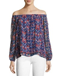 Sanctuary Chantel Off The Shoulder Floral Print Blouse Blue Pattern