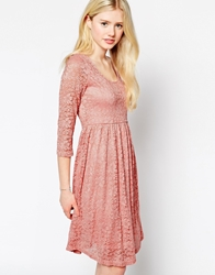 Max C London Max C Skater Dress In Lace Pink