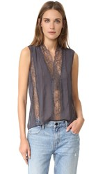 Alice Olivia Peta Sheer Lace Sleeveless Top Charcoal