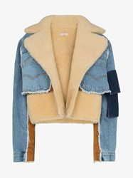 Natasha Zinko Shearling Lined Denim Jacket Blue