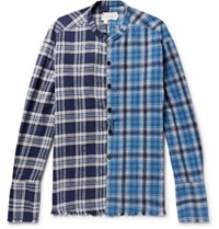 Greg Lauren Grandad Collar Panelled Checked Cotton Flannel Shirt Blue